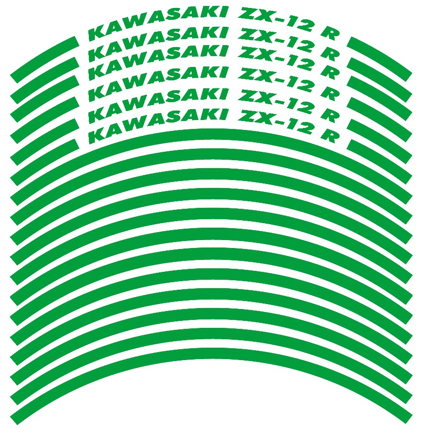 Felgenrandaufkleber Kawasaki ZX-12 R Grün
