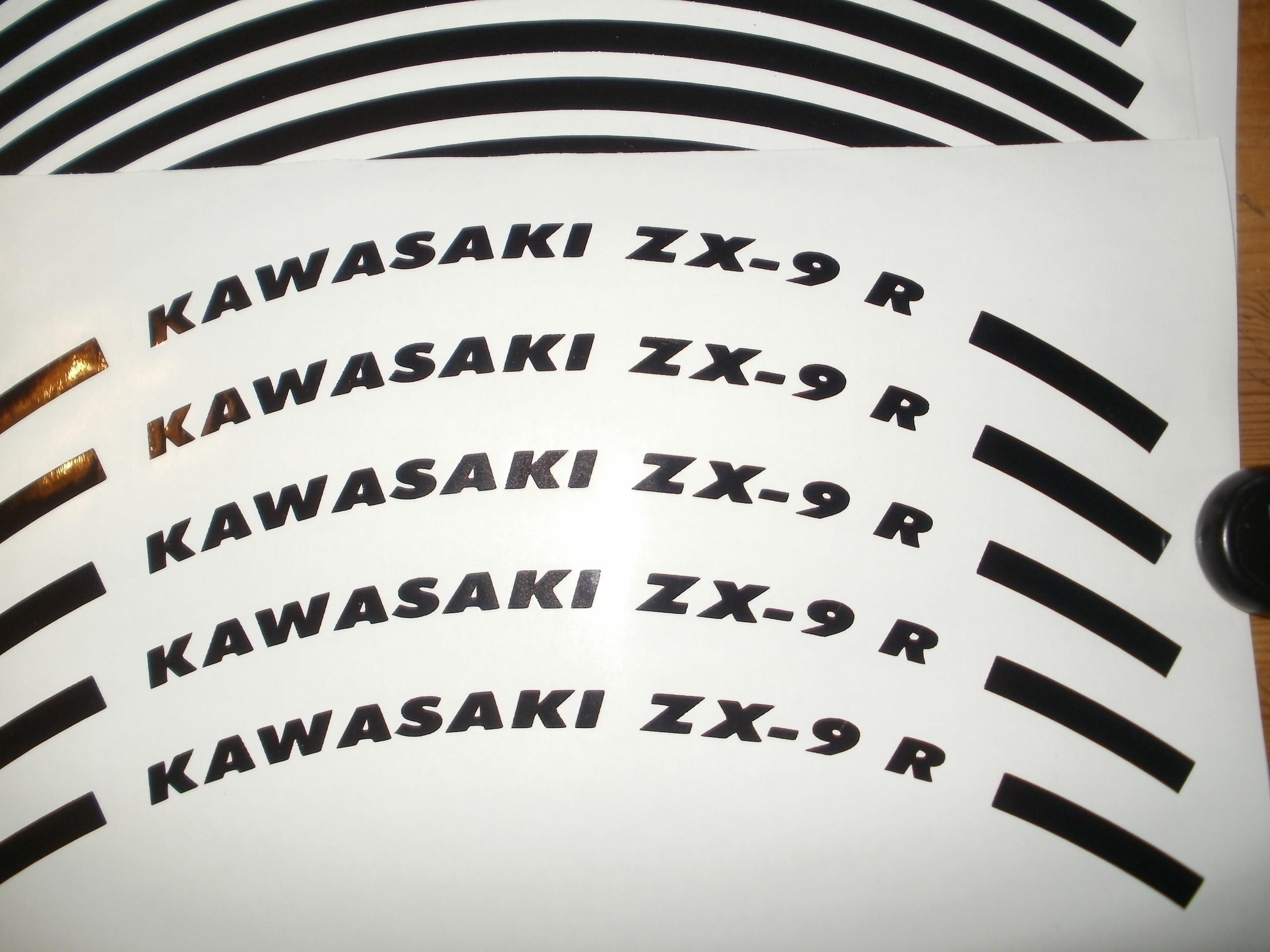 Felgenrandaufkleber Kawasaki ZX-9 R Schwarz