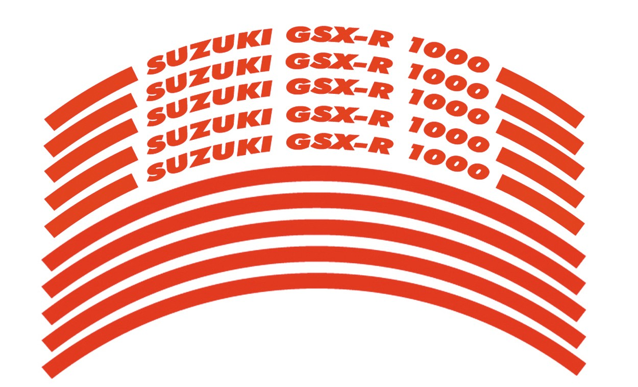 Felgenrandaufkleber Suzuki GSX-R 1000 Rot