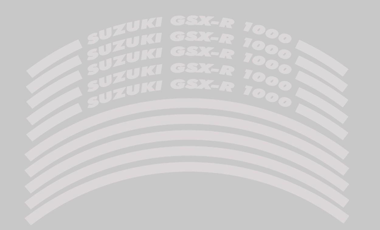 Felgenrandaufkleber Suzuki GSX-R 1000 Weiß