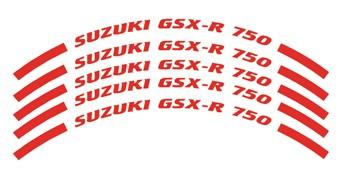 Felgenrandaufkleber Suzuki GSX-R 750 rot