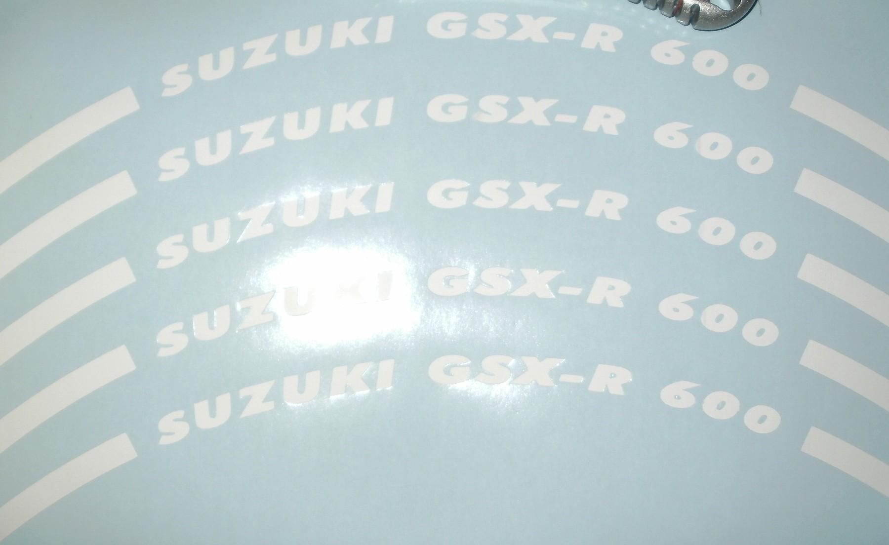 Felgenrandaufkleber Suzuki GSX-R 600 weiss, matt