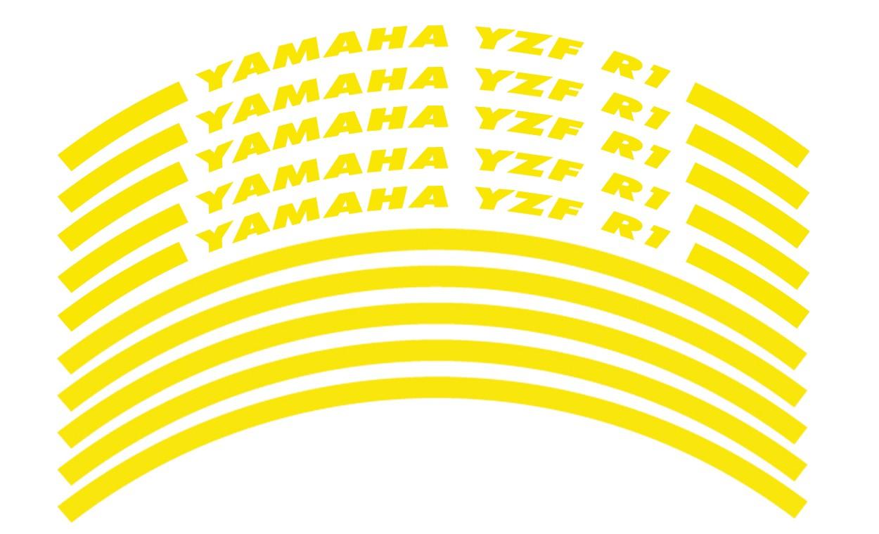 Felgenrandaufkleber Yamaha YZF R1 gelb