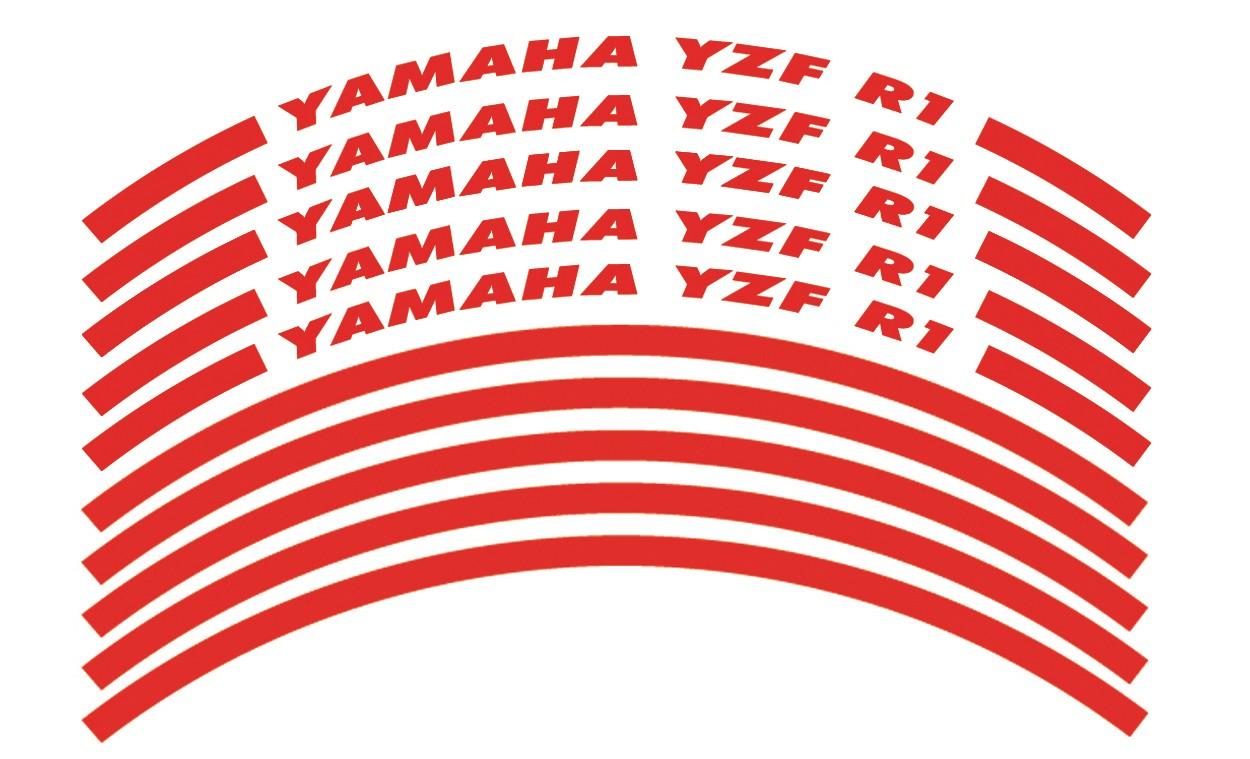 Felgenrandaufkleber Yamaha YZF R1 rot
