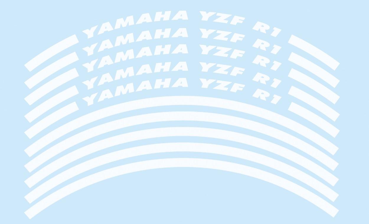 Felgenrandaufkleber Yamaha YZF R1 weiß
