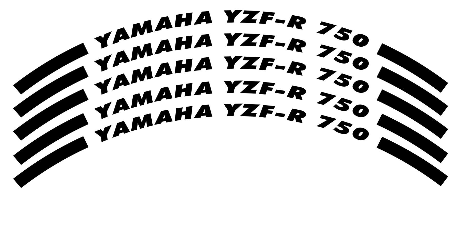 Felgenrandaufkleber Yamaha YZF-R 750 schwarz