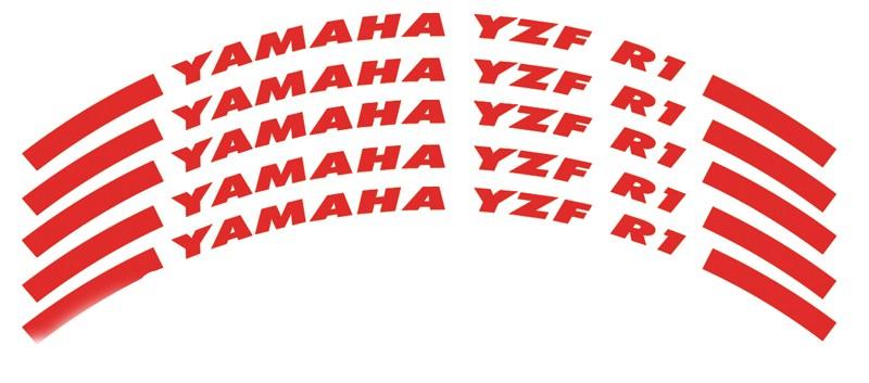 Felgenrandaufkleber YZF R1 - nur Modellschriftzug rot