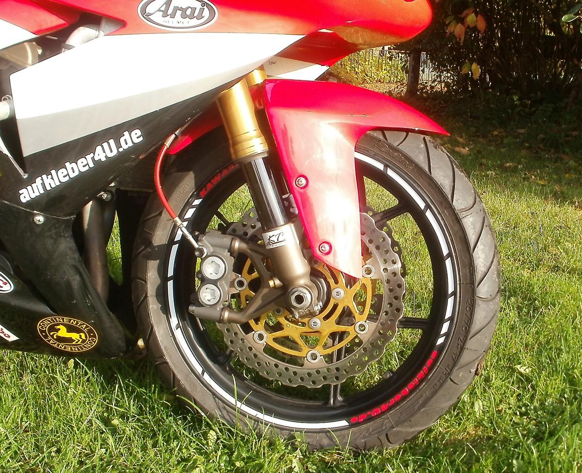 Felgenrandaufkleber KK-Design Kawasaki ZX-10 R weiß/rot