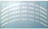Felgenrandaufkleber HONDA CBR 600 RR weiß