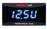 Batteriespannungsanzeige und Uhr KOSO für alle 12 V Gleichstrom-Batterien